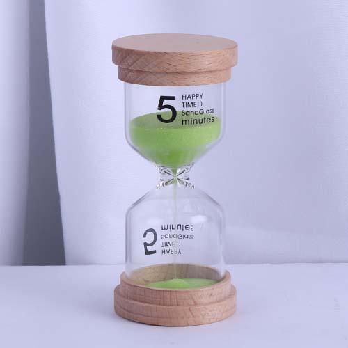 Light Green Wood Cap Happy Time Sandglass