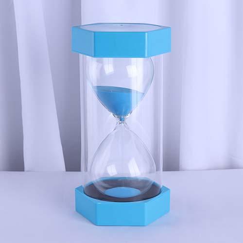 Plastic Hexagon Sand Timer Large Light Blue