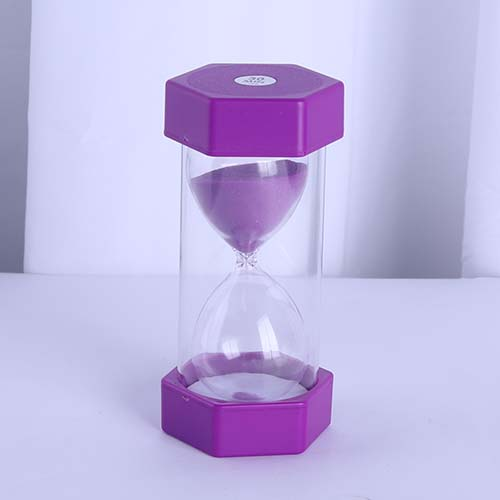 Plastic Hexagon Sand Timer Mini Purple
