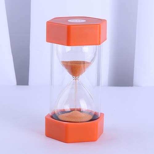 Plastic Hexagon Sand Timer Small Orange