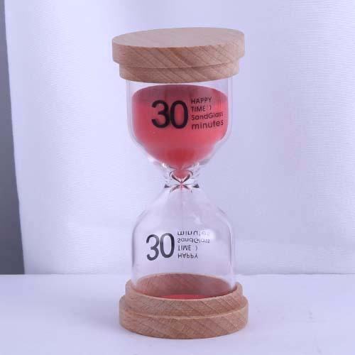 Red Wood Cap Happy Time Sandglass