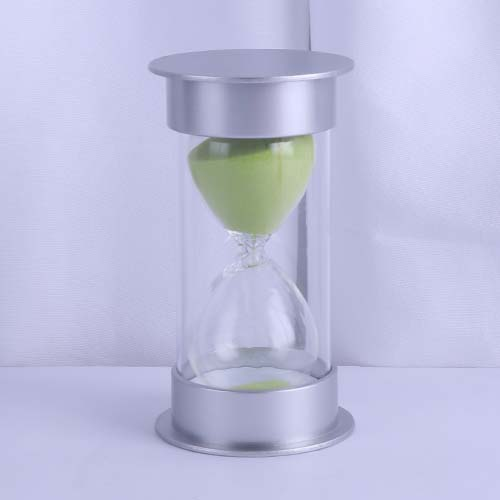 Silver Round Cap Educational Hourglass