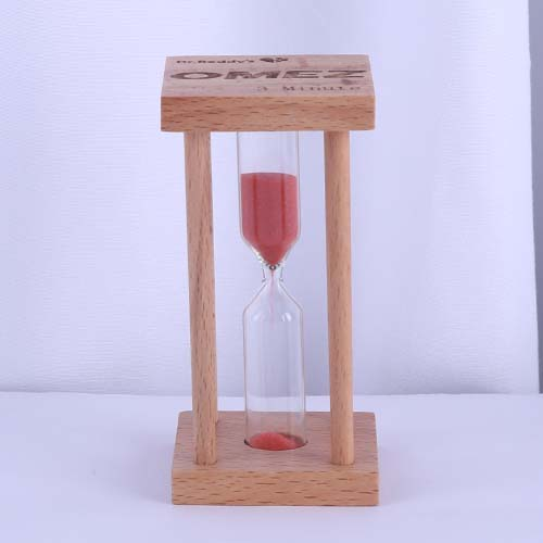 Square Wood Sand Tea Timer with Red Color
