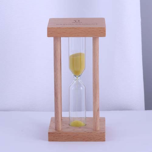 Square Wood Sand Tea Timer with Yellow Color