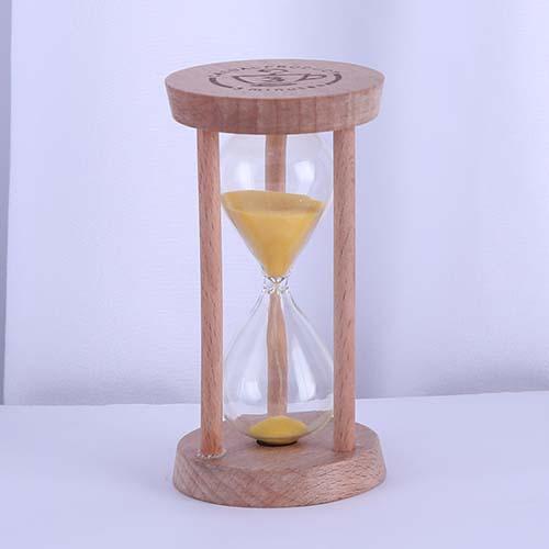 Yellow Round Wood Tea Sand Timer